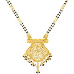 22K Gold Elegant Mangalsutra Black Beads Chain, Length 30inches