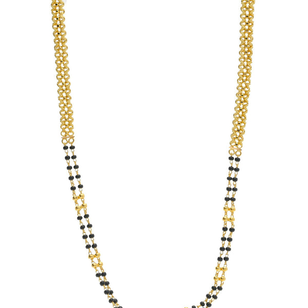 22K Gold Elegant Mangalsutra Black Beads Chain, Length 30inches |    Floral designs favour every woman and this mangalsutra is a gentle reminder. This 22K yellow g...