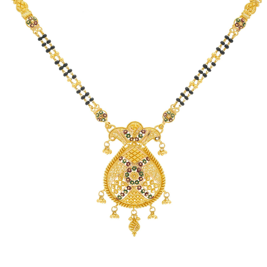 22K Gold Mangalsutra Black Beads Chain, Length 30inches |    Something trendy for the newly-wed; This chain from Virani Jewelers is an excellent way to add...
