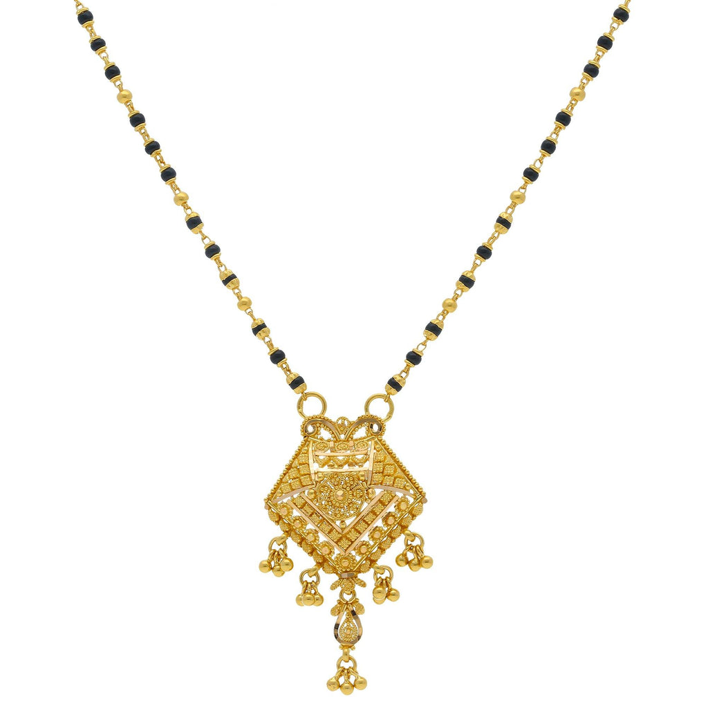An image of a beautiful 22k gold Indian necklace with a large pendant from Virani Jewelers | Add an elegant luster to your attire with this 22K gold Mangalsutra Chain from Virani Jewelers!  ...