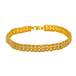 22K Multi Tone Men's Bracelet W/ Brick Link Band