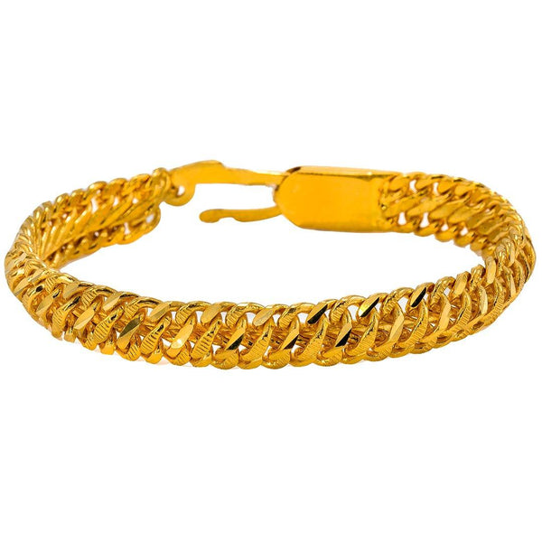 22K Yellow Gold Men's Bracelet W/ Curb Link, 62.3 gm | Give your look a masculine chic touch with this sleek 22K yellow gold men's bracelet from Virani ...
