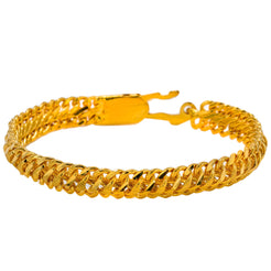 22K Yellow Gold Men's Bracelet W/ Curb Link, 48.8 gm