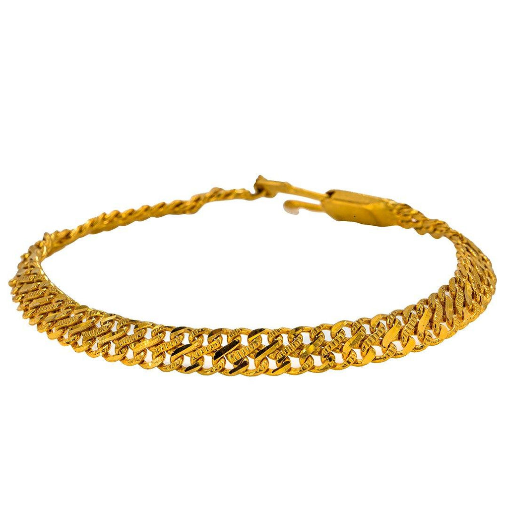 22K Yellow Gold Men's Bracelet W/ Double Curb Link | Give your look a masculine chic touch with this sleek 22K yellow gold men's bracelet from Virani ...
