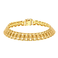 22K Yellow Gold Men's Watch Band Bracelet W/ Curved Tubular Links