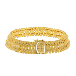 22K Yellow Gold Men's Watch Band Bracelet W/ Tube & Dot Textured Links