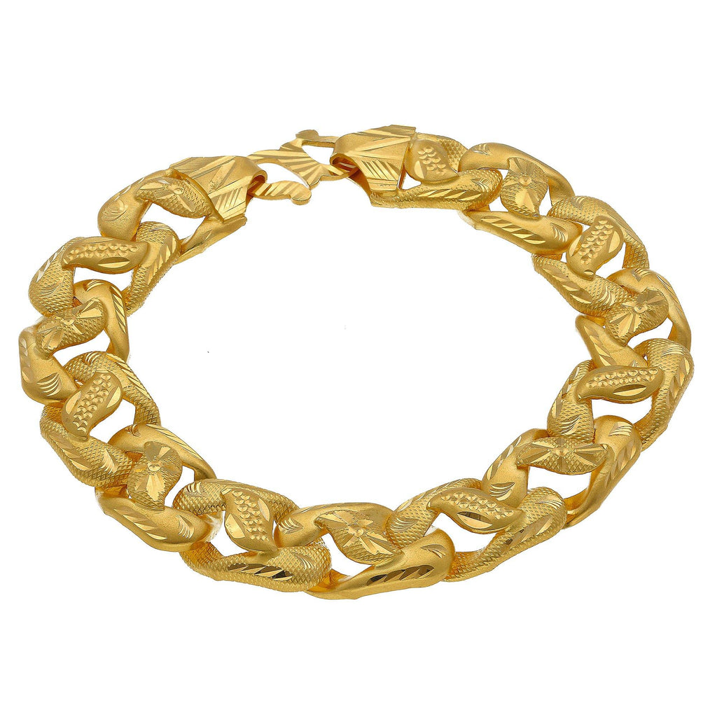 22K Yellow Gold Men's Chunky Bracelet W/ Wide Links & Laser Cut Designs |    Make a statement with the most unique masculine jewelry designs such as this chunky 22K yellow...