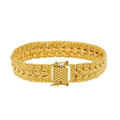 22K Yellow Gold Men's Watch Band Bracelet W/ Triple Row Textured Links