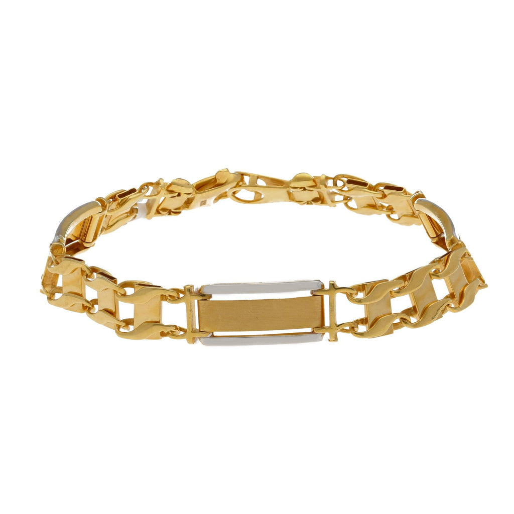 22K Multi Gold Stylish Men Bracelet |    This is a thick gold bracelet with beautiful design that gives it a very rich and bold outlook...