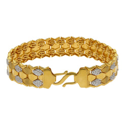 22K Yellow Gold Men Bracelet W/ Double S-Link Band