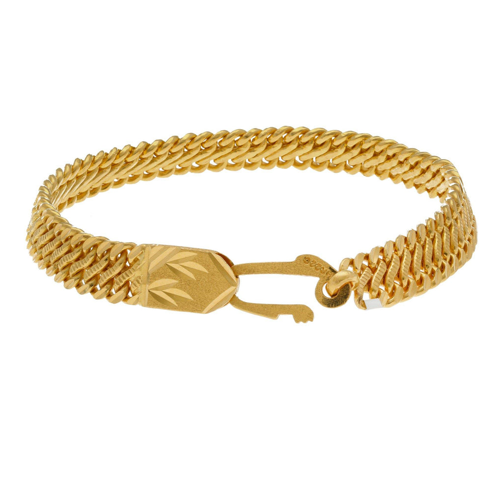 22K Yellow Gold Men Bracelet W/ Hexagonal Tile Link |     Fashioned in solid yellow gold to exude sheer class and style, this exquisite bracelet can be...