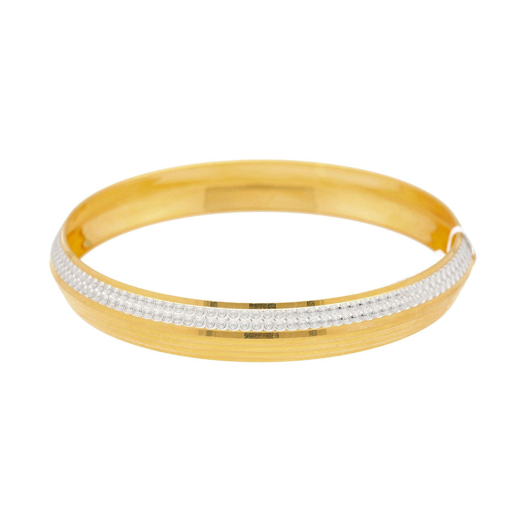 22K Multi Tone Men's Domed Kada Bangle W/ White Gold Stripe |    Enjoy the smooth surface of this uniquely designed 22K multi tone gold men's Kada bangle with ...