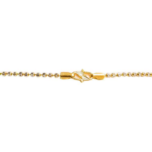 22K Multi Tone Gold Ball Chain W/ Draped White & Yellow Gold Column Bead Strands, 16.9gm |  22K Multi Tone Gold Ball Chain W/ Draped White & Yellow Gold Column Bead Strands, 16.9gm for...