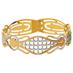 22K Multitone Gold Artillery Bangle