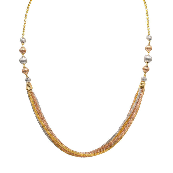 22K Multi Tone Gold Chain W/ Draped Wheat Link Chains & Large Side Ball Accents | 22K Multi Tone Gold Chain W/ Draped Wheat Link Chains & Large Side Ball Accents for women. Th...