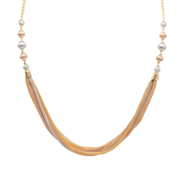 An image of the multi-tone 22K gold necklace with draping strands from Virani Jewelers. | Add a classy look to your attire with the Multi-Tone Gold Ball Chain from Virani Jewelers!  Featu...