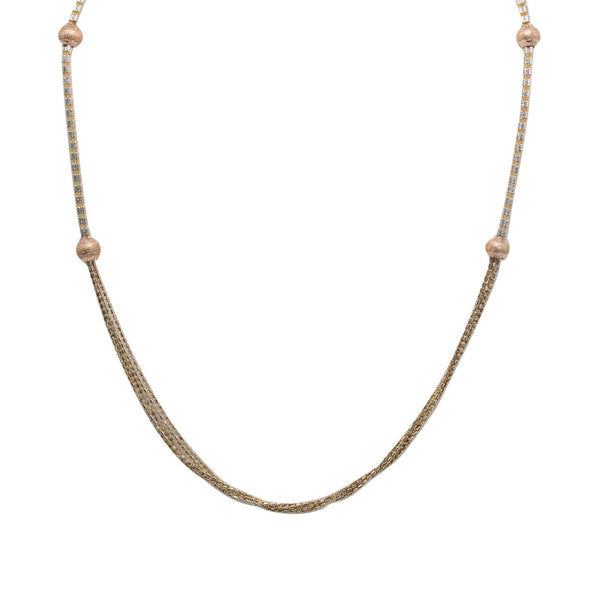 22K Multi Tone Gold Chain W/ Speckled Rose Gold Balls & Draped Column Bead Strands |  22K Multi Tone Gold Chain W/ Speckled Rose Gold Balls & Draped Column Bead Strands for women...