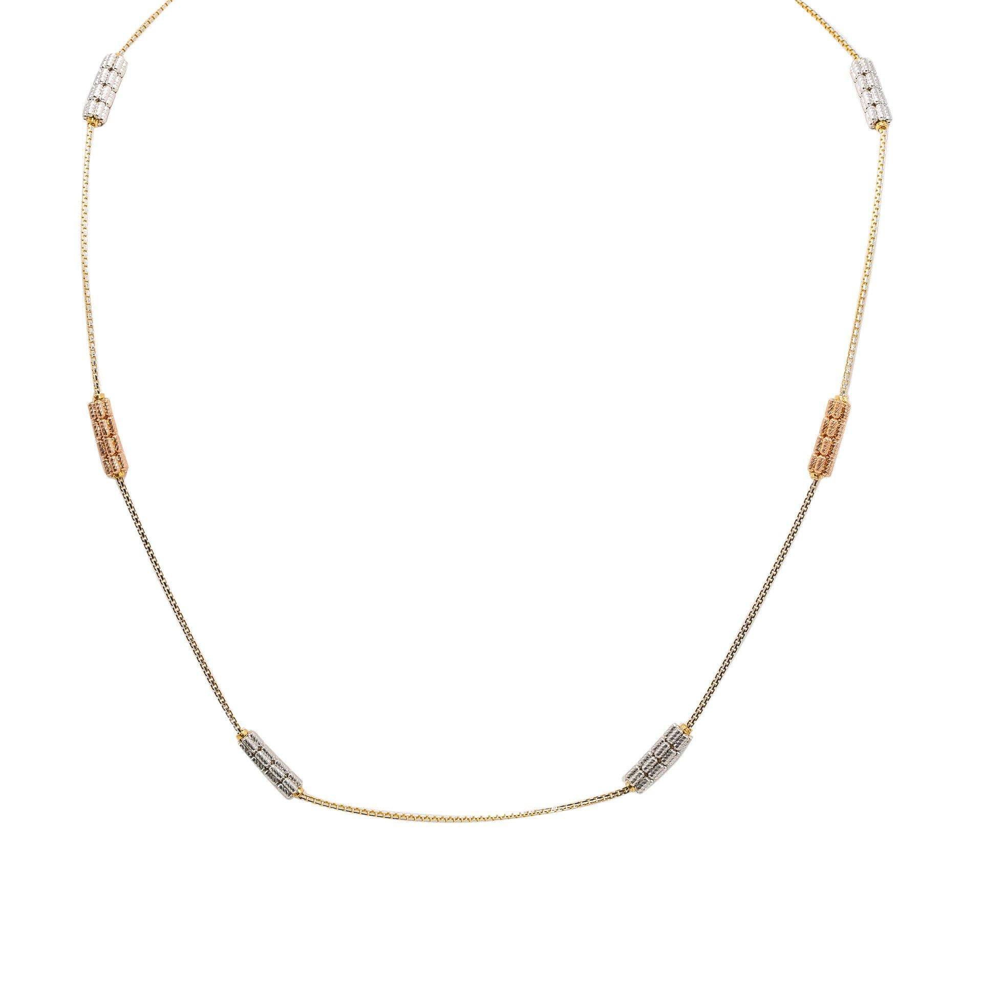 d46b8ccba82 22K Multi Tone Gold Chain W/ White & Rose Gold Detailed Pipe Beads, Size  18.5