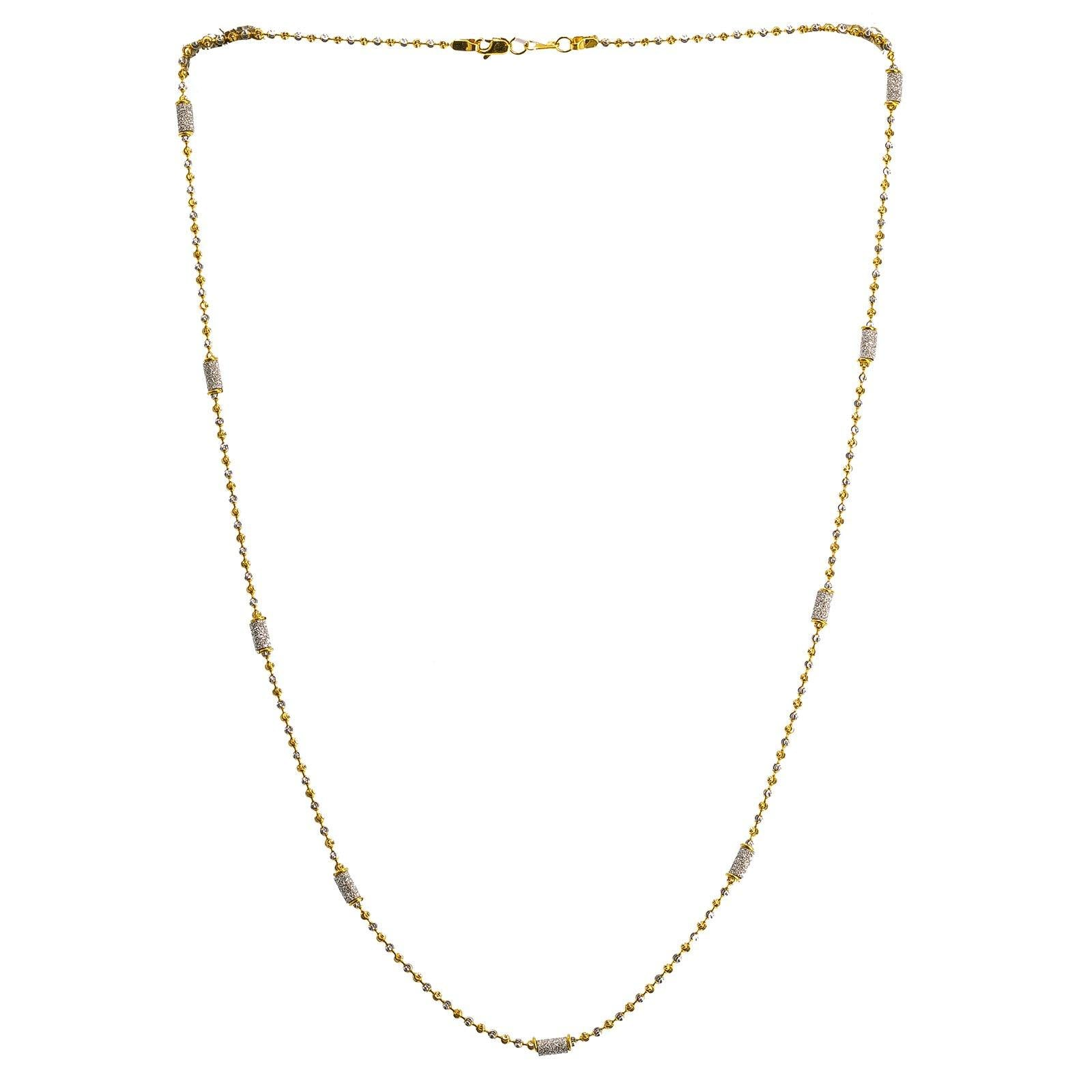 22K Multi Tone Gold Ball Chain W/ White Gold Pipe Beads