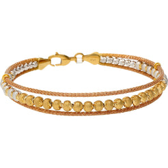 22K Multitone Gold Antique Beaded Bangle
