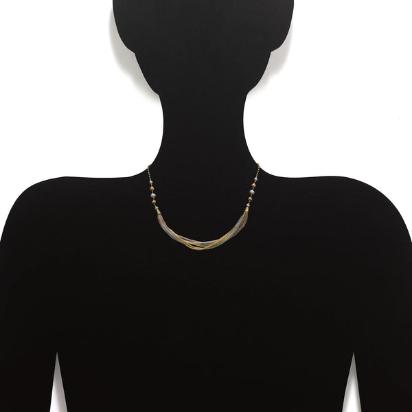 An image showing how the Virani Jewelers 22K gold chain for women will look on your neck. | Make your wardrobe a little more unique with the Multi Tone Necklace from Virani Jewelers!  Desig...