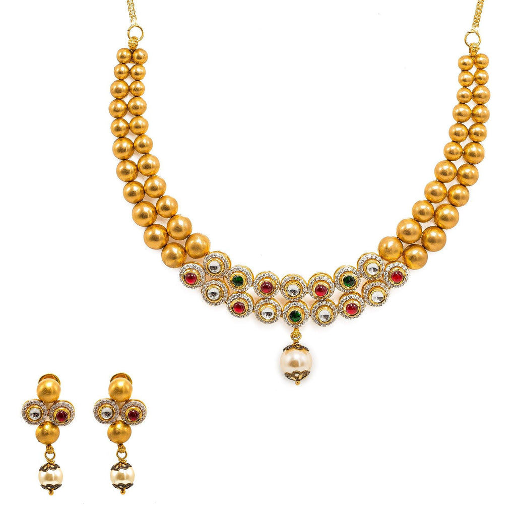 22K Yellow Gold Necklace And Earrings Set W/ Rubies, Emeralds, CZ Stone Jewelry, Pearls & Smooth Gold Balls |  22K Yellow Gold Necklace And Earrings Set W/ Rubies, Emeralds, CZ Stone Jewelry, Pearls & Sm...