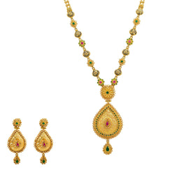 22K Yellow Gold Necklace And Earrings Set W/ Rubies, Emeralds, CZ Gems & Faceted Pear Pendants