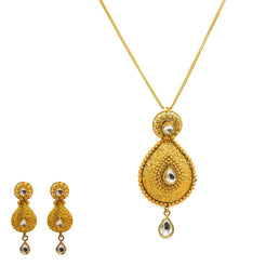 22K Yellow Gold Necklace And Earrings Set W/ Kundan & Pear Shaped Paisley Pendants
