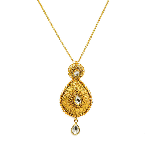 22K Yellow Gold Necklace And Earrings Set W/ Kundan & Pear Shaped Paisley Pendants |  22K Yellow Gold Necklace And Earrings Set W/ Kundan & Pear Shaped Paisley Pendants for women...