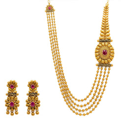 22K Yellow Gold Necklace And Earrings Set W/ Rubies, Draped Ball Strands & Ornate Side Pendant