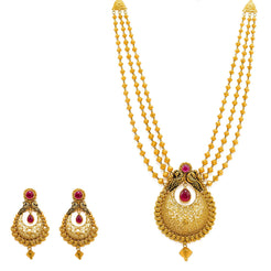 22K Yellow Gold Necklace And Chandbali Earrings Set W/ Rubies, Gold Bicone Strands & Chandbali Pendants