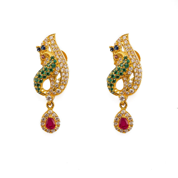 22K Yellow Gold Necklace And Earrings Set W/ Rubies, Emeralds, Sapphires, CZ Gems & Large Peacock Pendants |  22K Yellow Gold Necklace And Earrings Set W/ Rubies, Emeralds, Sapphires, CZ Gems & Large Pe...