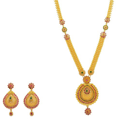 22K Yellow Gold Necklace And Earrings Set W/ Rubies, Emeralds, CZ Gems, Flower Charms & Pear Pendants