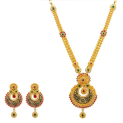 22K Yellow Gold Necklace And Earrings Set W/ Rubies, Emeralds, CZ Gems & Engraved Chandbali Pendants