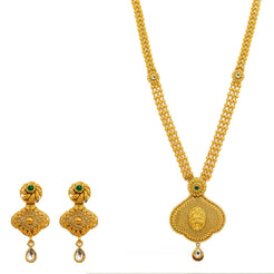 22K Yellow Gold Necklace And Earrings Set W/ Rubies, Emeralds, Kundan Stone Jewelry & Laxmi Pendant