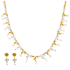 22K Multi Tone Gold Necklace & Earrings Set W/ CZ Gems & Drip Designs