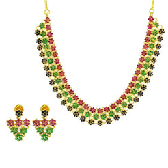 22K Yellow Gold Necklace & Earrings Set W/ Emeralds, Rubies, Black Sapphires & Floral Display