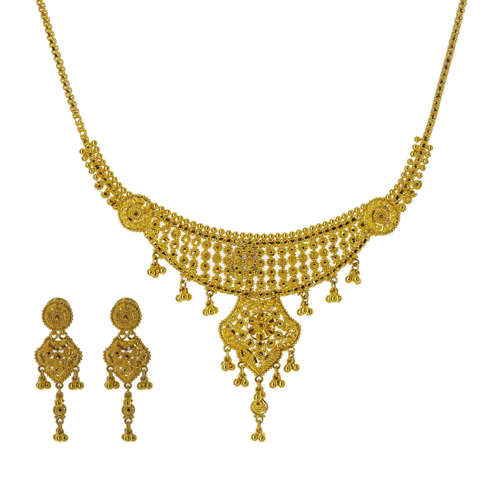 22K Yellow Gold Necklace Set W/ Gold Balls & Abstract Drop Pendants | Enter into every room with statement pieces that speak before you do, such as this exquisite 22K ...
