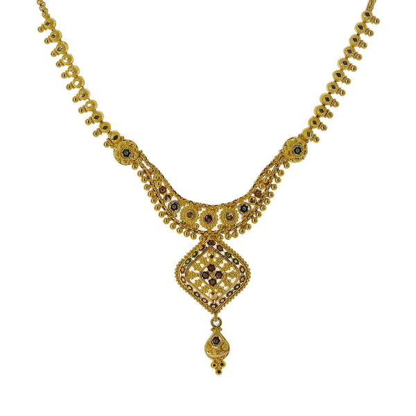 22K Yellow Gold Meenakari Necklace Set W/ Beaded Filigree & Rhombus Pendants | Enter into every room with statement pieces that speak before you do, such as this exquisite 22K ...