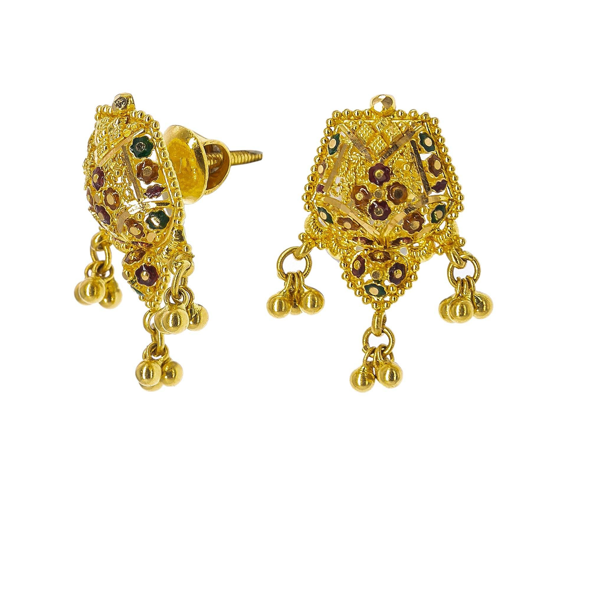 22K Yellow Gold Meenakari Necklace Set W/ Wheat Chains & Abstract Pendants
