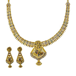 22K Yellow Gold Meenakari Necklace Set W/ Abstract Peacock Pendants
