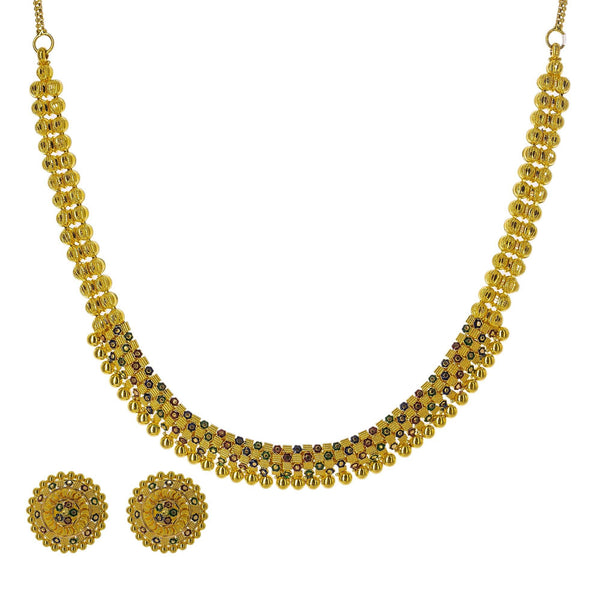 22K Yellow Gold Meenakari Necklace Set W/ Gold Bead Balls & Round Shield Earrings | Enter into every room with statement pieces that speak before you do, such as this exquisite 22K ...