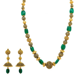 22K Yellow Gold Necklace & Jhumki Earring Set W/ Emerald & Unique Detailed Gold Beads
