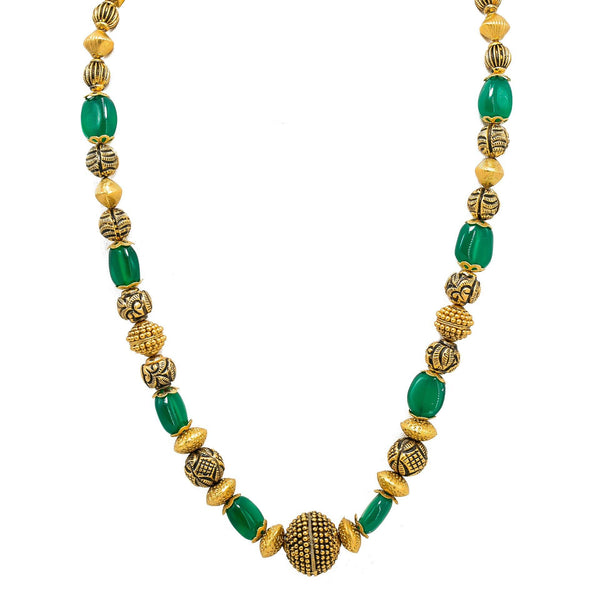 22K Yellow Gold Necklace & Jhumki Earring Set W/ Emerald & Unique Detailed Gold Beads |  22K Yellow Gold Necklace & Jhumki Earring Set W/ Emerald & Unique Detailed Gold Beads fo...