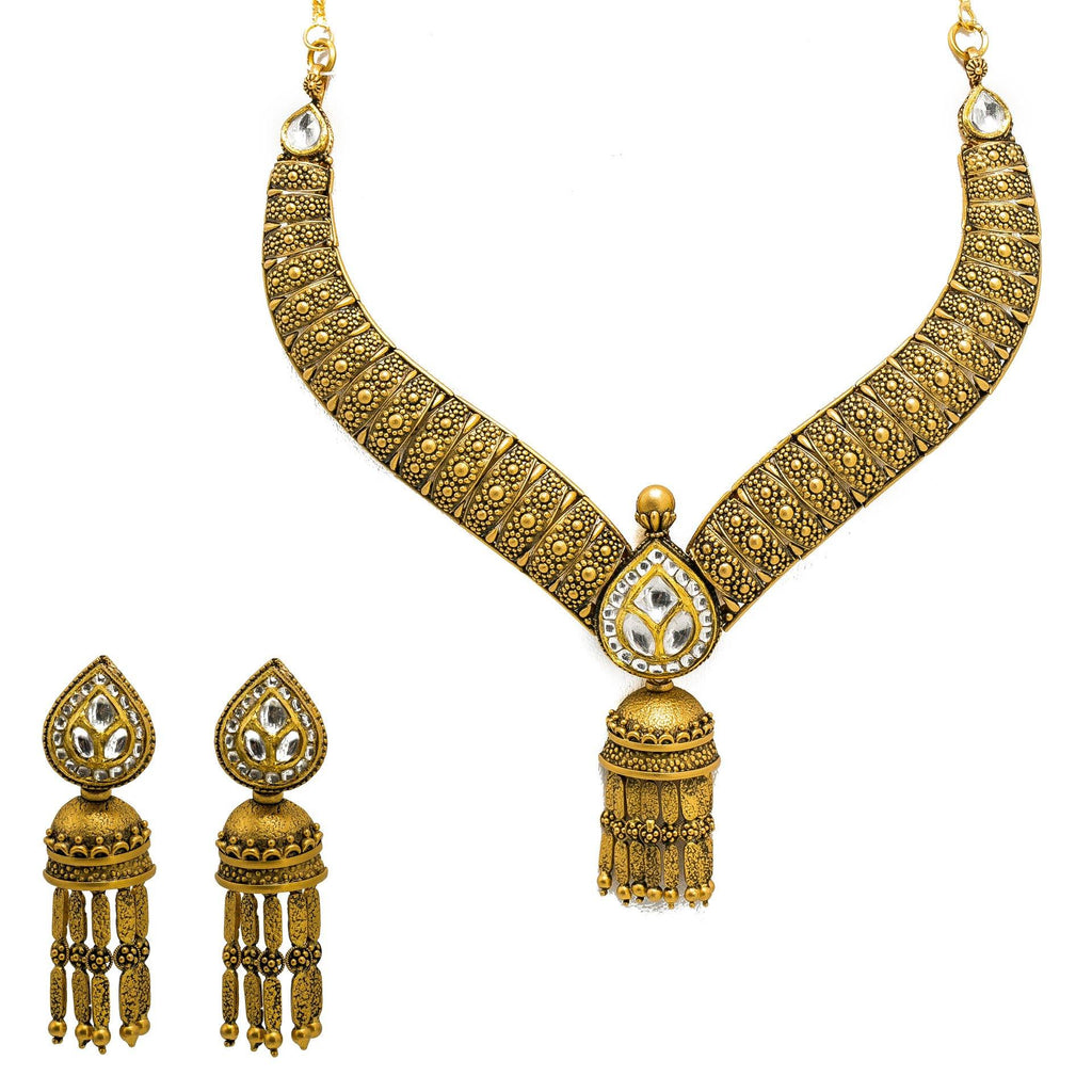 22K Yellow Gold Necklace & Jhumki Earring Set W/ Kundan on Pear Shape Accents & Raining Jhumki Designs |  22K Yellow Gold Necklace & Jhumki Earring Set W/ Kundan on Pear Shape Accents & Raining ...