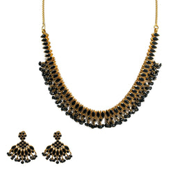 22K Yellow Gold Necklace & Earrings Set W/ Black Sapphires