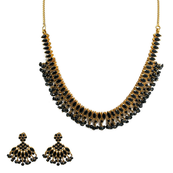 22K Yellow Gold Necklace & Earrings Set W/ Black Sapphires |  22K Yellow Gold Necklace & Earrings Set W/ Black Sapphires  for women. The breathtaking 22K ...