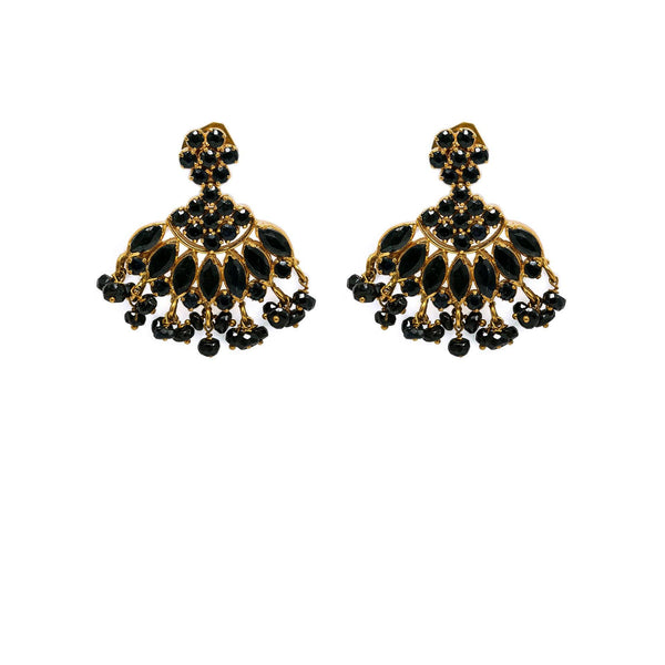 22K Yellow Gold Necklace & Earrings Set W/ Black Sapphires - Virani Jewelers |  22K Yellow Gold Necklace & Earrings Set W/ Black Sapphires  for women. The breathtaking 22K ...