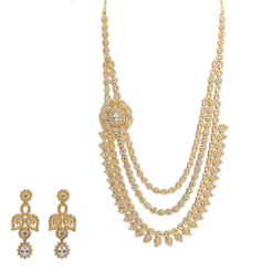 22K Yellow Gold Necklace & Earrings Set W/ CZ Gemstones & Draped Strand Design
