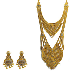 22K  Multi Tone Gold Necklace & Earrings Set W/ Beaded Filigree & Royal Double Collar Chandelier Display